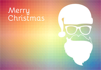 Christmas vector or illustration with a hipster Santa Claus in a colorful low polygon background