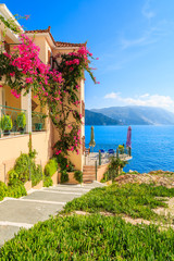 Wall Mural - House with flowers along walkway to beach on coast of Kefalonia island in Assos village, Greece