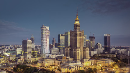 Aerial view of Warsaw Downtown at srunrise, Poland