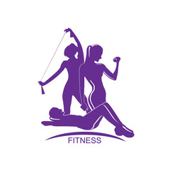 Fitness club emblem with woman silhouette, vector illustration