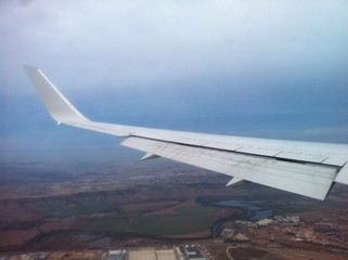 flying in the airplane