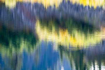 Abstract Blur Reflections of Forest in Lake Background