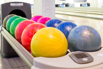 Close-up view of bowling balls