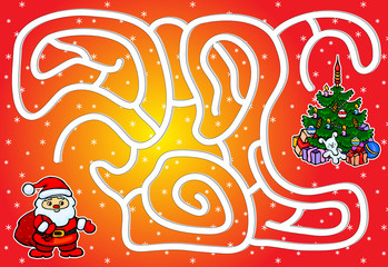 Help Santa Claus pass through a maze and find a Christmas tree