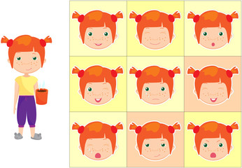 Red-haired girl with a cup of coffee emotions: joy, surprise, fe