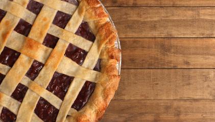 Homemade Cherry Pie in a Foil Baking Tin
