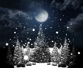 christmas trees with sparkiling stars on sky background with moon and snowflakes