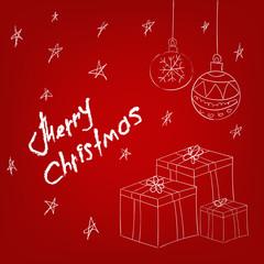 Christmas balls and present box  hand drawn vector illustration