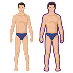 Fashion man couple outlined template figure