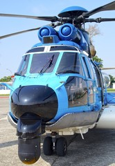 EC-225 helicopter for opening to visitors at Kaohsiung Navy Headquarters in Taiwan. On Oct 24, 2015