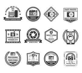 Photography Black White Emblems Set