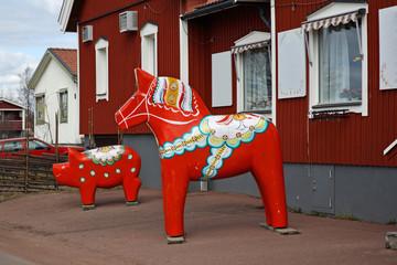 Dalecarlian (Dala) horse in Nusnas. Dalarna county. Sweden