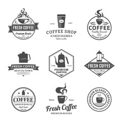 Set of Vector Coffee Shop Labels, Icons and Design Elements