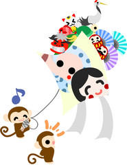 Pretty monkey raising a big kite