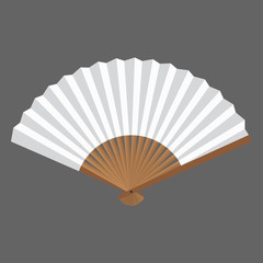 Opened fan white and wooden in vector