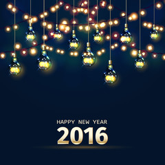 New Year card with festive garland lights and light bulbs. Vector illustration