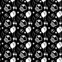 Happy birthday and anniversary seamless background pattern