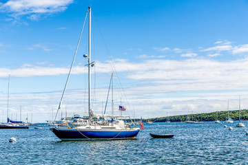 Blue and White American Sailboat