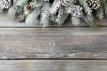 spruce and snow on boards