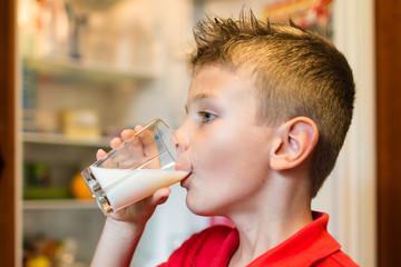 Boy drinking milk from glass