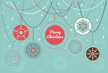 Merry Christmas - card for invitation, greeting in vintage stile with Christmas balls
