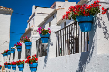 Picturesque street of Mijas. Charming white village in Andalusia
