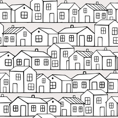 Cute small white houses. Vector seamless pattern