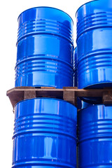 Chemical tanks stored at the storage of waste.