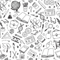 vector seamless pattern with education items