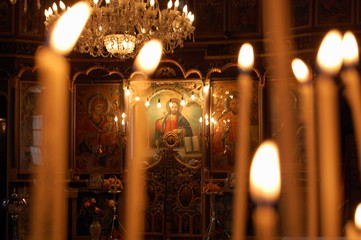 Burning candles in orthodox church