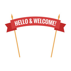 Welcome sign. Vector illustration. White inscription hello and welcome to the red transporant. Text with Banner ribbon business on a white background isolated