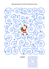 Christmas or New Year maze game: Help Santa get out of the snowstorm maze. Answer included.