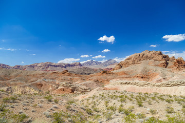 Red rocks and clear blue sky in Valley of Fire State Park, Nevada, USA