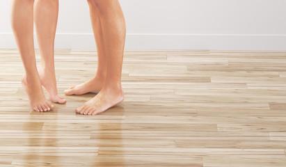 Gambe donna uomo punta piedi