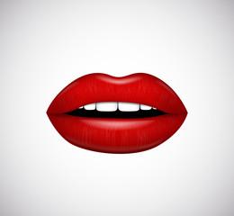 Hot red lips. Vector illustration.