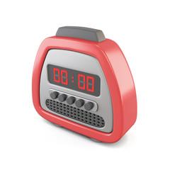 Red digital alarm clock. 3d illustration.