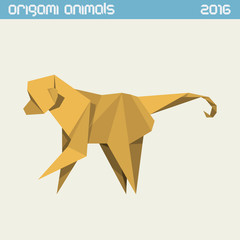 Printed roller blinds Ass Origami monkey. Vector simple flat illustration. New Year 2016