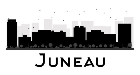 Juneau City skyline black and white silhouette. Some elements of illustration have transparency mode different from normal