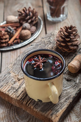 mulled wine from the wine cranage in rustic iron mug