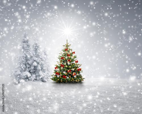 geschm ckter tannenbaum im schnee stockfotos und. Black Bedroom Furniture Sets. Home Design Ideas