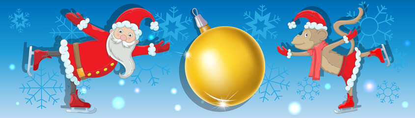 Horizontal abstract background with snowflakes, with Santa Claus's image, the monkey and a New Year's sphere