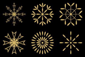 gold snowflakes set sign isolated on black background