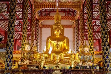 golden buddha statue in wat suan dok temple, chiang mai