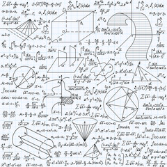 """Math vector seamless texture with formulas, plots, functions, equations and algebraic and geometric figures, """"handwritten on a grid copybook paper"""""""