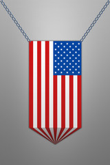 Color ribbon in stule american flag.