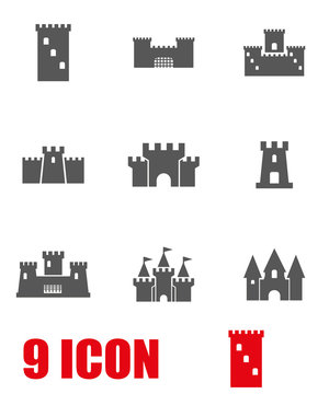 Vector grey castle icon set. Castle Icon Object, Castle Icon Picture, Castle Icon Image - stock vector