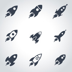 Vector black rocket icon set. Rocket Icon Object, Rocket Icon Picture, Rocket Icon Image - stock vector