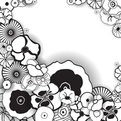Black and White Floral Background.