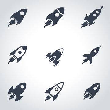 Vector black rocket icon set. Rocket Icon Object, Rocket Icon Picture, Rocket Icon Image - stock vector