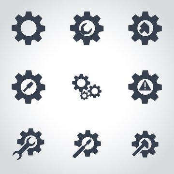 Vector black tools in gear icon set. Tools in Gear Icon Object, Tools in Gear  Icon Picture, Tools in Gear Icon Image - stock vector